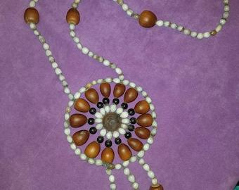 Treated acorn, acorn seeds and wood handmade necklace