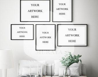 Gallery frames mockup, Livingroom frames, Scandinavian style interior frame mock-up, PSD mockup, Natural lighting