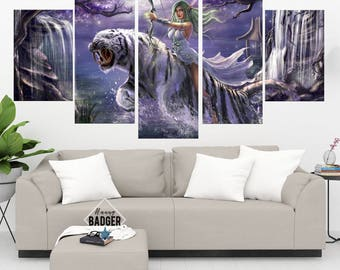 Tyrande Whisperwind World of Warcraft 5 Panel Piece Canvas Set WoW Wall Art Print Poster Artwork Wall Decor Painting Decal Mural Decoration