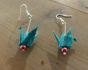 """Origami, """"Cranes"""", green and gold earrings"""