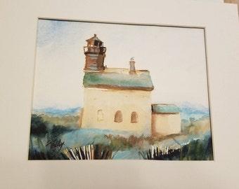"Block Island North Light house Original Watercolor 8 x 10"""