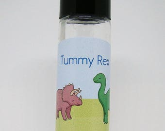 """Child Tummy Relief with Essential Oils for Occasional Upset Tummy -- Boy's Line of EO's -- """"Tummy Rex"""""""
