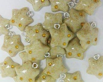 Glow in the dark kawaii polymerclay stars charm