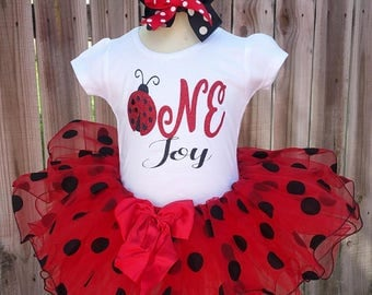 Sweet Little Ladybug Birthday First or Second Birthday Tutu 3 Piece Set