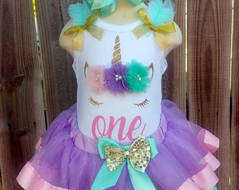 Pastel Rainbow and Gold Unicorn First Second Third Birthday Ribbon Tutu Outfit Free Personalization