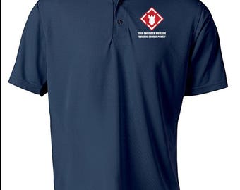 20th Engineer Brigade Embroidered Moisture Wick Polo Shirt -7247