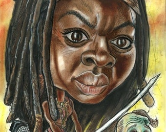Michonne taking care of business A3 print. 600 pixels per inch resolution. Signed by the artist.