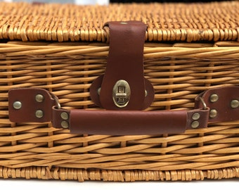 Wicker and Leather Picnic Basket