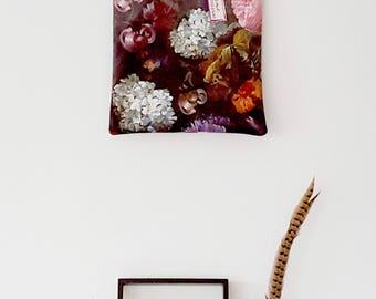 Handmade antique flowerprint velvet tote bag