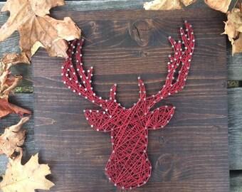 Frame 12 X 12 deer head String art decoration