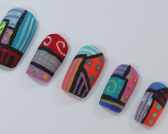 10 Bright Abstract Nails, Press On Nails, Glue on Nails, Full Coverage Nails