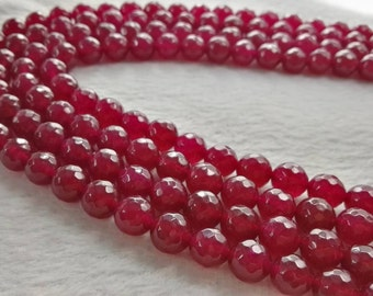8mm 10mm Faceted Agate Beads , Red Agate Faceted Round Beads , Gemstone  Beads , Agate Beads For Bracelet Necklace DIY Jewelry