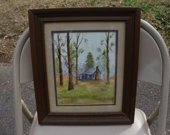 Watercolor -- Cabin in the Woods -- Framed