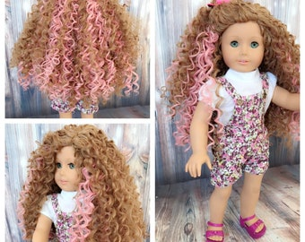 """RESERVED! Custom Doll Wig for 18"""" American Girl Doll Heat Safe - fits 10-11.5"""" head size of all 18"""" dolls Gotz Our Generation - Curly Brown"""
