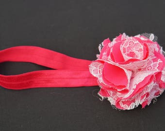 Infant Elastic Head Band with Lace Flower