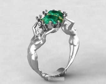 Lab Emerald Two Stone Ring