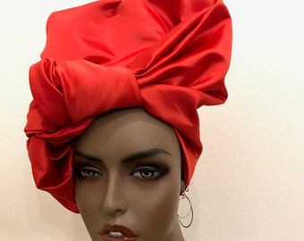 Red long satin versatile neck scarf and head scarf, women's gifts, women's accessories, long scarves