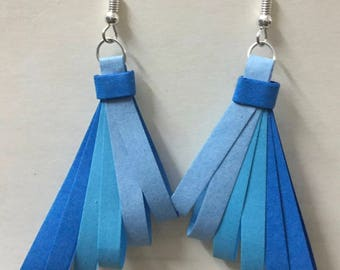 Quilled Paper Earrings: Blue Feathers