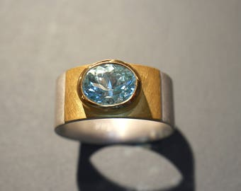 Ring Silver gold with aquamarine