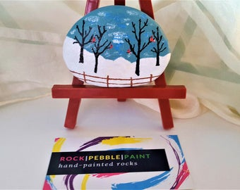 Hand-painted Red Cardinal Winter Scene Rock