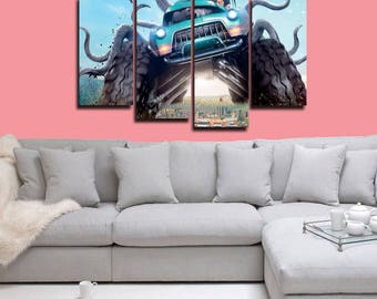 Monster Trucks Canvas, 4 panel canvas