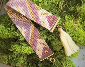 Purple & Gold Boho Aztec Beaded Bracelet