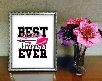 digitale Grafik Datei PNG und PDF zum Downloaden - best friends ever fabulous pink kiss - zb für T-Shirts, Drucke, Bilder, Tassen...