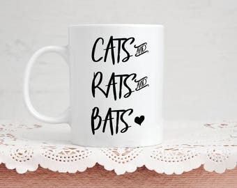 Cats and Rats and Bats Mug - Coffee & Tea 11 Ounce Mug Perfect Present for Animal Lovers and Goths For Halloween or Valentine's Day Gift