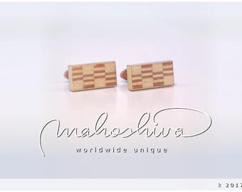 wooden cuff links wood cherry maple handmade unique exclusive limited jewelry - mahoshiva k 2017-52
