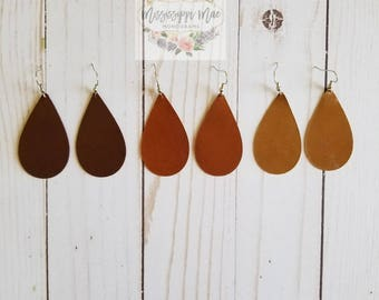 Genuine Leather, Teardrop Earrings, Handmade, Free shipping