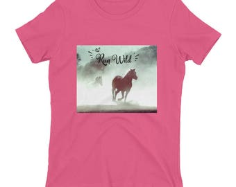 Run Wild, Women's t-shirt, unique, Horse lovers