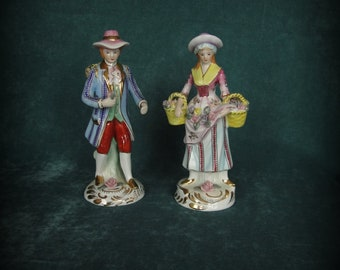 Limoges Figurine Couple Gathering Flowers in Period Costumes