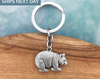 Wombat Australian Souvenir Keyring, Australian Made Pewter Gift