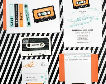 Cassette Tape Music Wedding Invitation Suite of 4 Printable