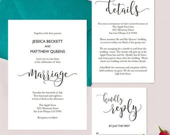 Set of 3 Wedding Invitations Printable Template 2 - BASIC by 3EggsDesign
