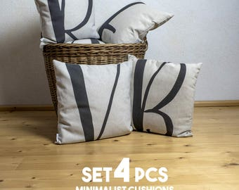 "4 pillows pieces SET of with unique typography letters, black & white, 16x16"", Cotton cushion cover, your choice of the letter"