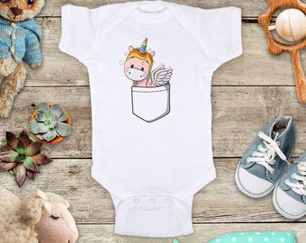 Unicorn in shirt pocket - funny cute baby bodysuit baby shower gift - Made in USA - toddler kids youth shirt