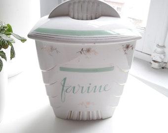 French vintage Spice jar 1/2 porcelain Luneville style art deco/french vintage porcelain art deco box from Lunéville 40s