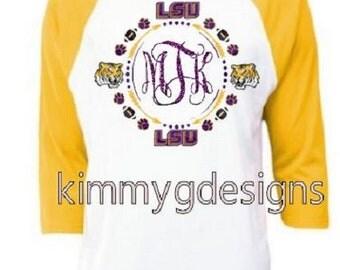 Custom LSU Monogram Raglan-Ladies LSU Shirt