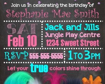 Trolls Birthday Invite Invitation