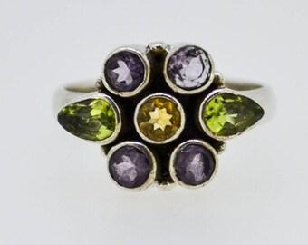 Amethyst Citrine peridot flower ring vintage cute boho chakra gemstone natural healing stone faceted