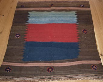 Antique South Persian Afshar Kilim Sofreh With Bold Design and Colour, Circa 1900/20.