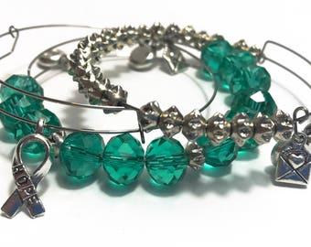 Green Charm Bracelet Set /Heart Chakra / Anahata / Gift Ideas for Her