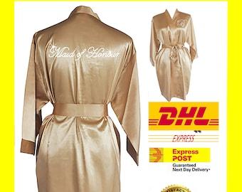 GOLD Bridesmaid Robes / Bride Robe / Bridal Party Robes / Bridesmaid Gift / Bridal Robe / Monogrammed /Personalised Robe / Plain Gown