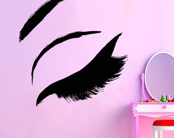 Wall Decal Window Sticker Beauty Salon Woman Face Eyelashes Lashes Eyebrows Brows t41