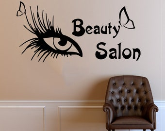 Wall Decal Window Sticker Beauty Salon Woman Face Eyelashes Lashes Eyebrows Brows t648