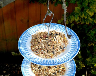Vintage China Up-Cycled Mini Cake Stand Bird Feeder