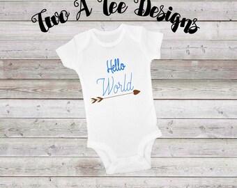 Hello World Onesie, heart arrow, onesie for babies, welcome world, twoateedesigns, newborn. hello world, baby onesie, custom onesie