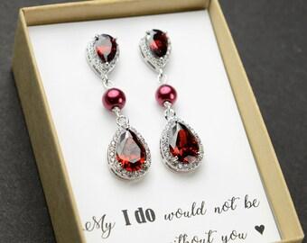 Burgundy red dark red garnet pearl Earrings burgundy Bridesmaid gifts Jewelry Rose Gold burgundy Bridal jewelry Bridesmaid gift set 4 5 6