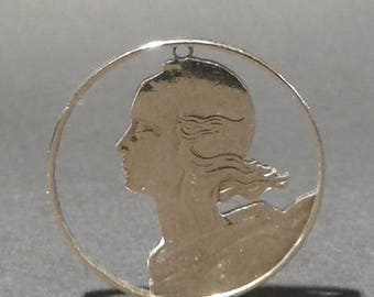 "Coin Jewelry, 20 French Centimes of 1970: ""Marianne"""